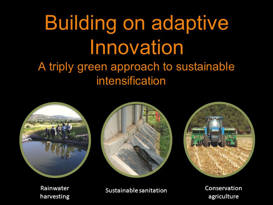 Building on adaptive Innovation A triply green approach to sustainable intensificationrn Conservation agriculture Rainwater harvesting Sustainable sanitation Photo:S Edman/Azote
