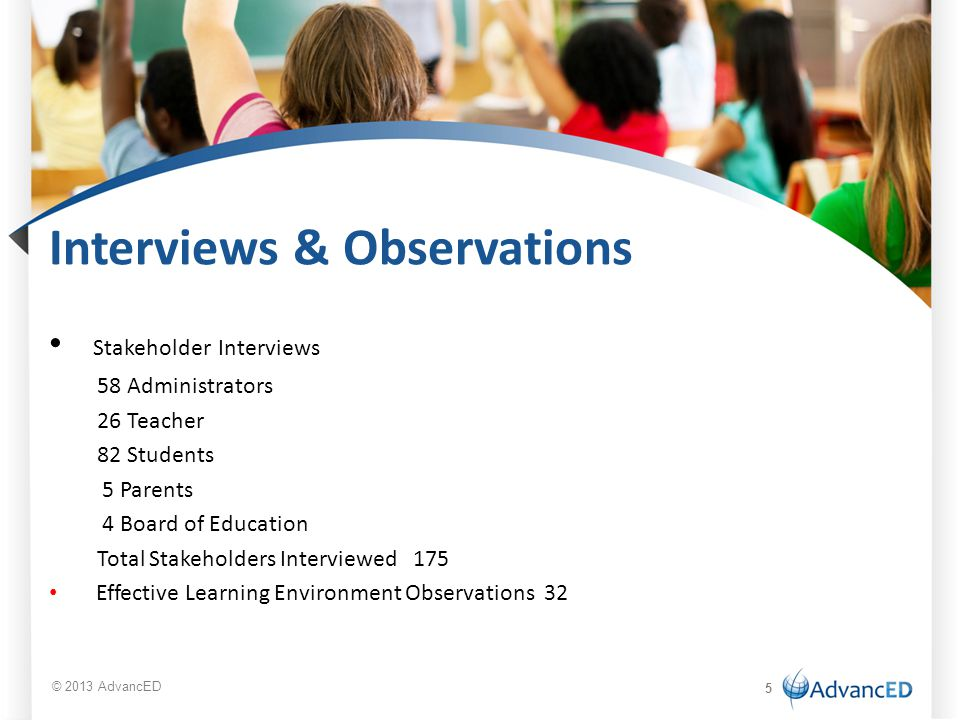 Interviews & Observations Stakeholder Interviews 58 Administrators 26 Teacher 82 Students 5 Parents 4 Board of Education Total Stakeholders Interviewe