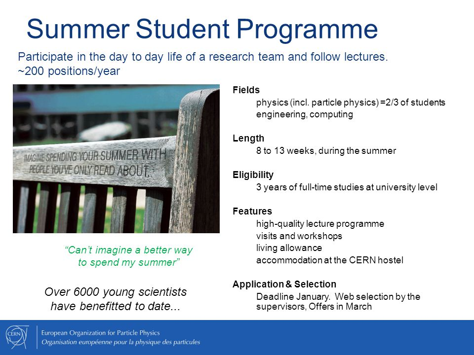 Summer Student Programme Fields physics (incl.