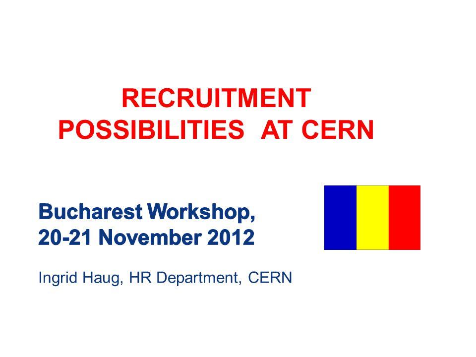 Ingrid Haug, HR Department, CERN RECRUITMENT POSSIBILITIES AT CERN