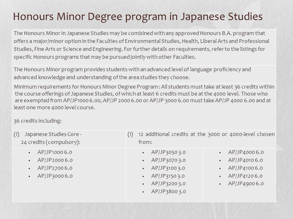 Honours Minor Degree program in Japanese Studies The Honours Minor in Japanese Studies may be combined with any approved Honours B.A. program that off