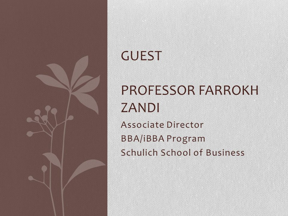 Associate Director BBA/iBBA Program Schulich School of Business GUEST PROFESSOR FARROKH ZANDI