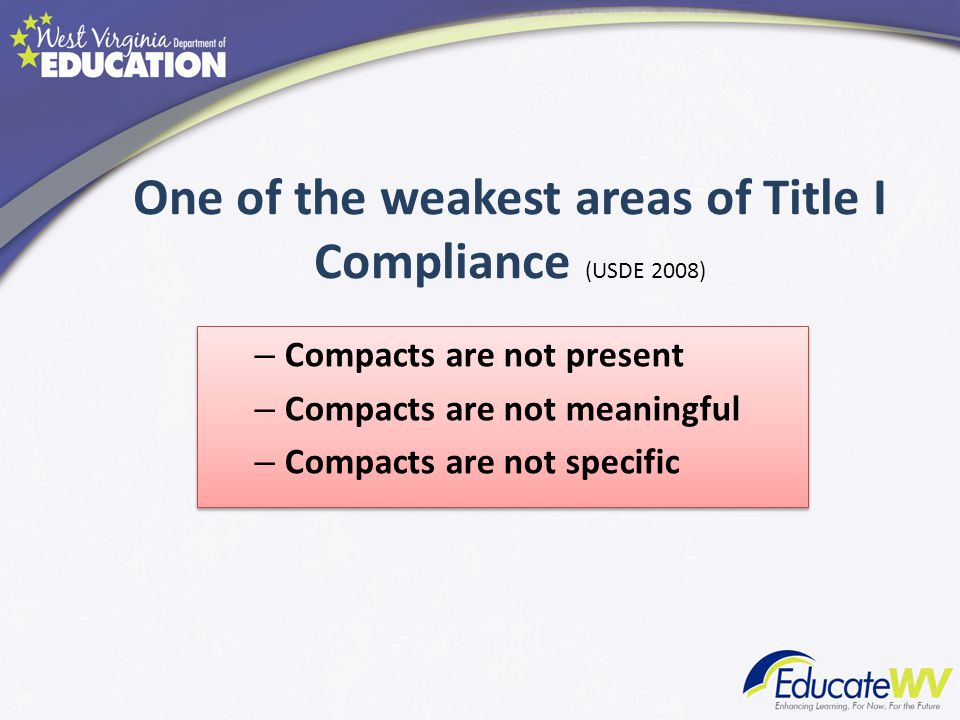 One of the weakest areas of Title I Compliance (USDE 2008) – Compacts are not present – Compacts are not meaningful – Compacts are not specific – Compacts are not present – Compacts are not meaningful – Compacts are not specific