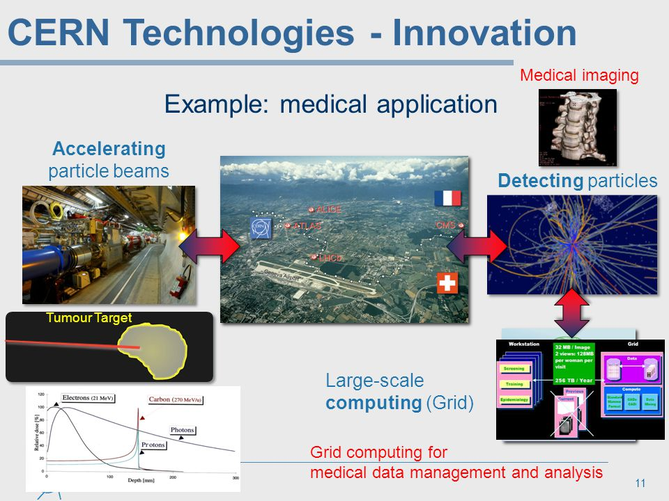 11 Example: medical application Accelerating particle beams Detecting particles Large-scale computing (Grid) Grid computing for medical data managemen
