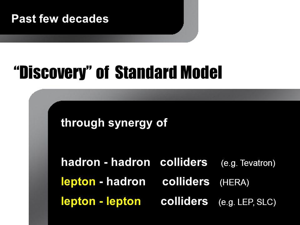 """Discovery"" of Standard Model through synergy of hadron - hadron colliders (e.g. Tevatron) lepton - hadron colliders (HERA) lepton - lepton colliders"