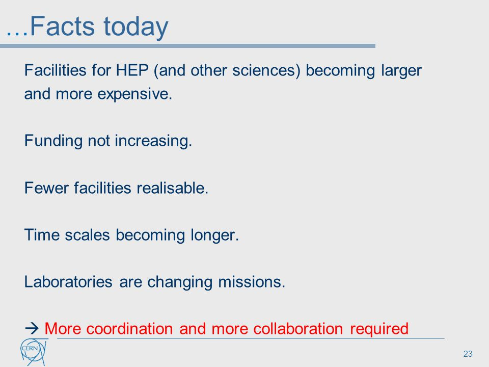 … Facts today Facilities for HEP (and other sciences) becoming larger and more expensive. Funding not increasing. Fewer facilities realisable. Time sc