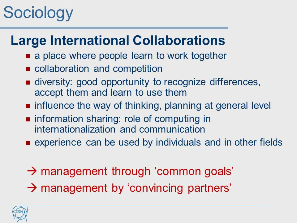 Large International Collaborations a place where people learn to work together collaboration and competition diversity: good opportunity to recognize differences, accept them and learn to use them influence the way of thinking, planning at general level information sharing: role of computing in internationalization and communication experience can be used by individuals and in other fields  management through 'common goals'  management by 'convincing partners' Sociology