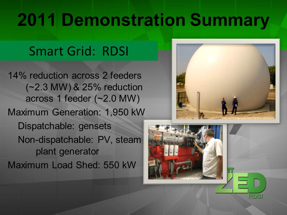 2011 Demonstration Summary 14% reduction across 2 feeders (~2.3 MW) & 25% reduction across 1 feeder (~2.0 MW) Maximum Generation: 1,950 kW Dispatchable: gensets Non-dispatchable: PV, steam plant generator Maximum Load Shed: 550 kW Smart Grid: RDSI