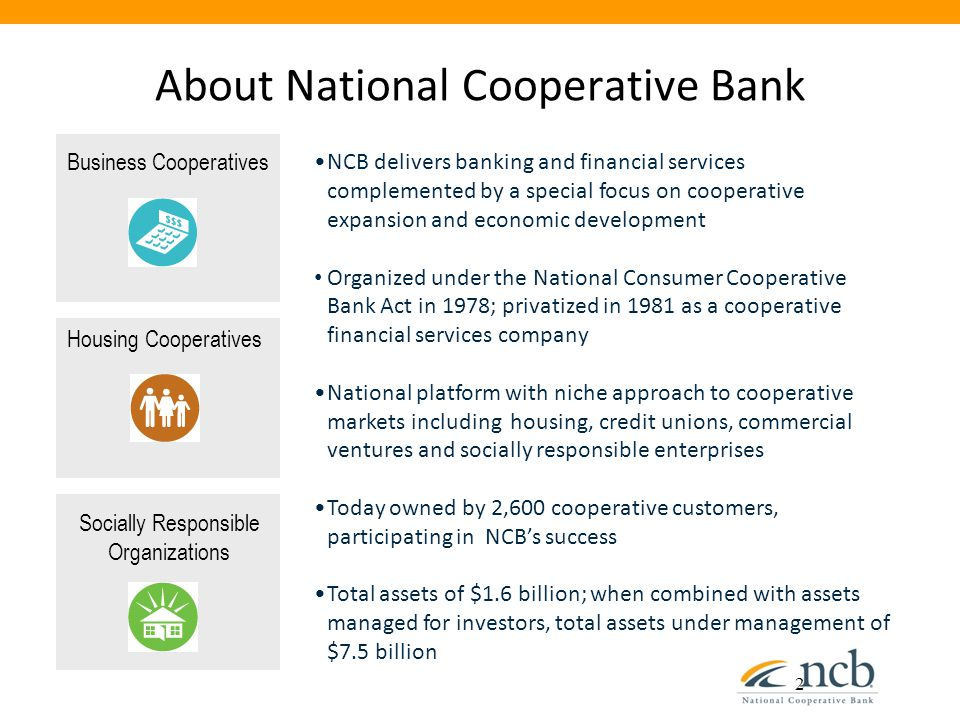 About National Cooperative Bank 2 NCB delivers banking and financial services complemented by a special focus on cooperative expansion and economic development Organized under the National Consumer Cooperative Bank Act in 1978; privatized in 1981 as a cooperative financial services company National platform with niche approach to cooperative markets including housing, credit unions, commercial ventures and socially responsible enterprises Today owned by 2,600 cooperative customers, participating in NCB's success Total assets of $1.6 billion; when combined with assets managed for investors, total assets under management of $7.5 billion Housing Cooperatives Business Cooperatives Socially Responsible Organizations