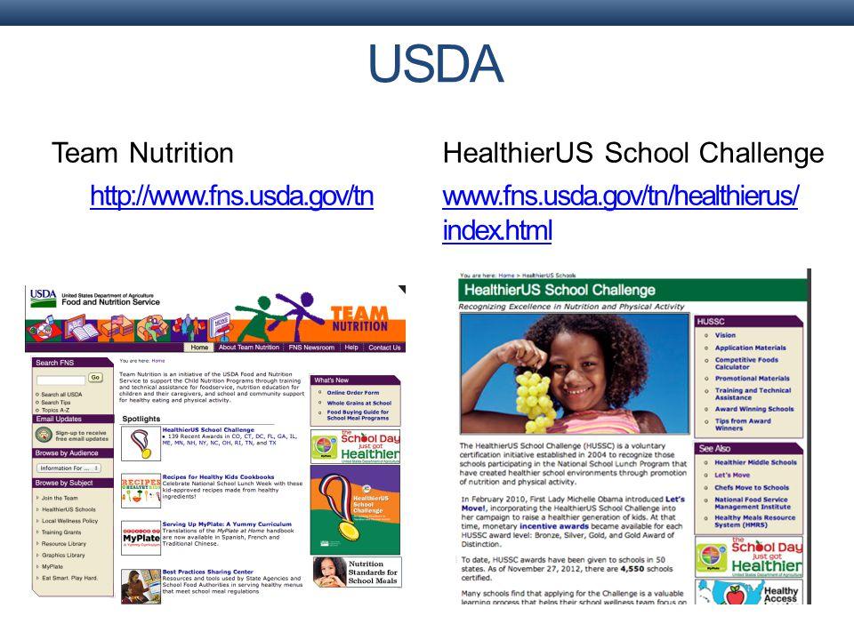 Team Nutrition http://www.fns.usda.gov/tn HealthierUS School Challenge www.fns.usda.gov/tn/healthierus/ index.html USDA