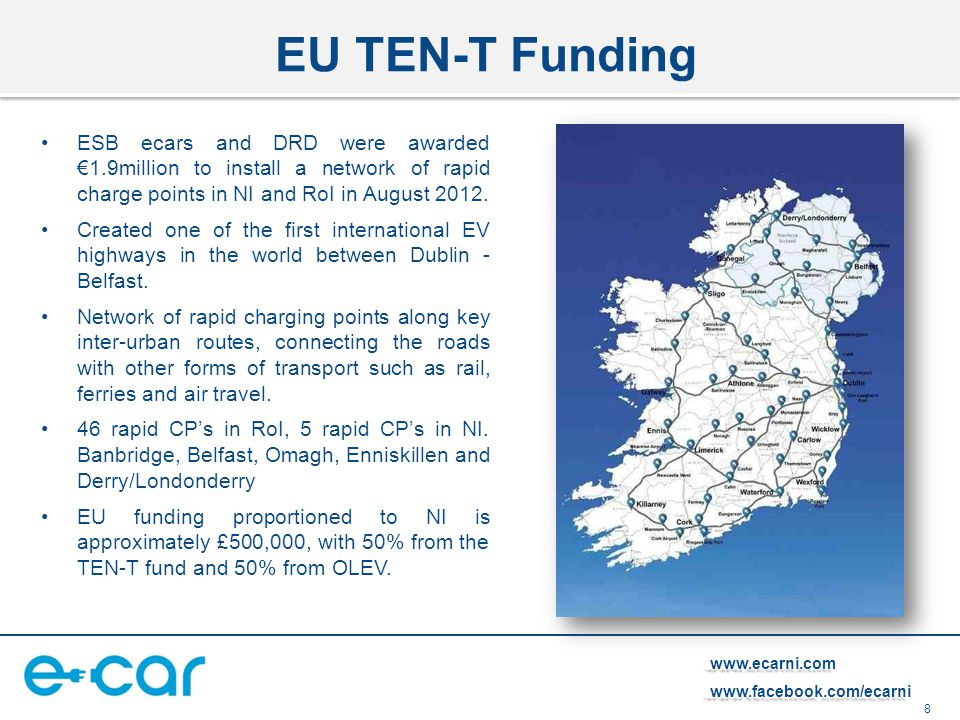 8 www.ecarni.comwww.facebook.com/ecarni EU TEN-T Funding ESB ecars and DRD were awarded €1.9million to install a network of rapid charge points in NI and RoI in August 2012.