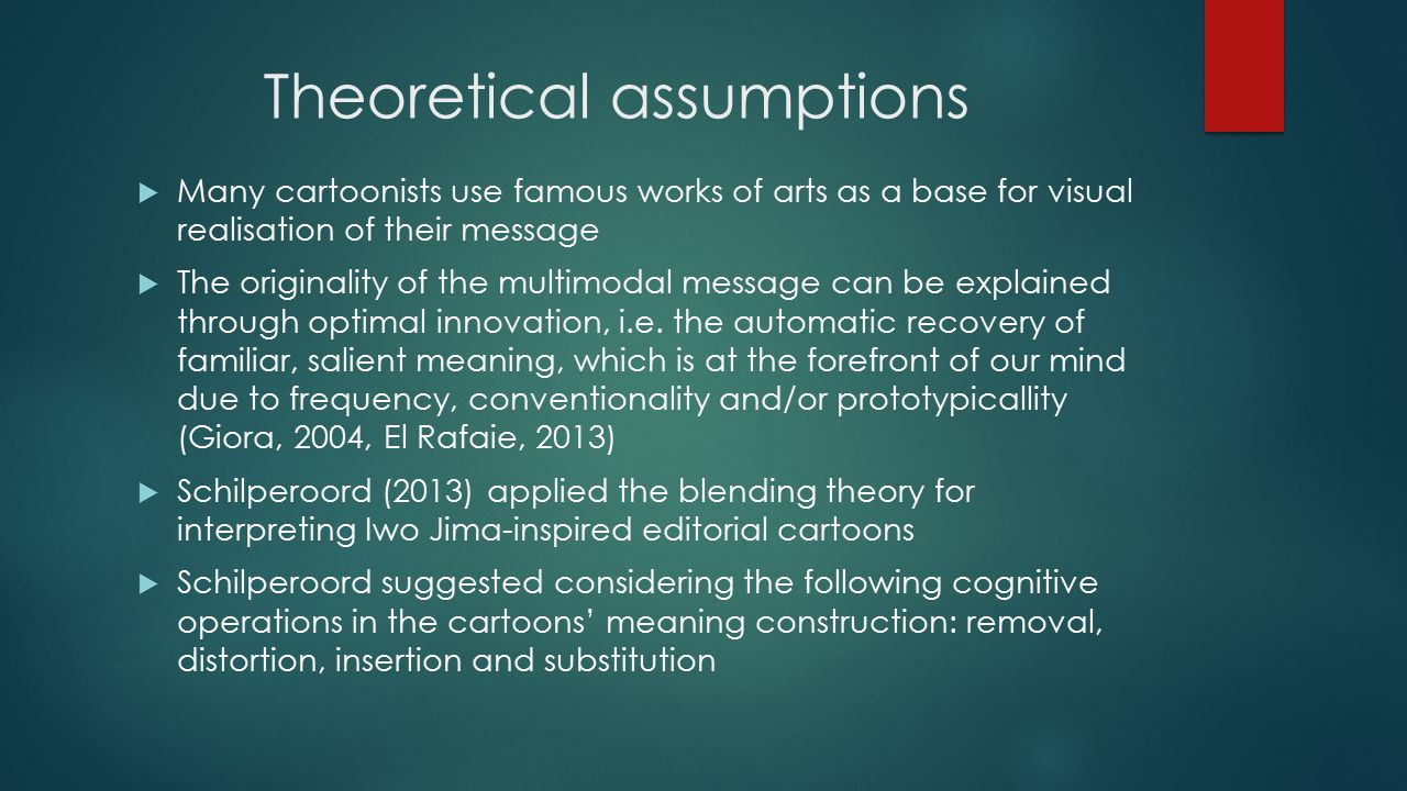 Theoretical assumptions  Many cartoonists use famous works of arts as a base for visual realisation of their message  The originality of the multimodal message can be explained through optimal innovation, i.e.