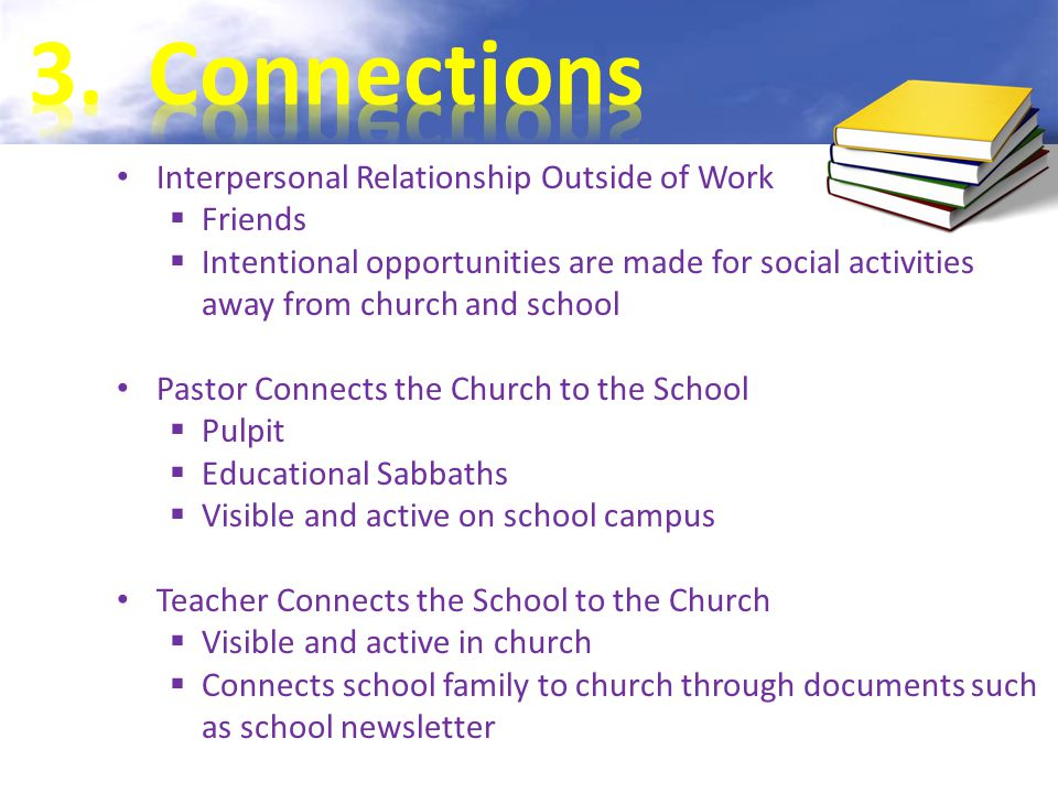 Interpersonal Relationship Outside of Work  Friends  Intentional opportunities are made for social activities away from church and school Pastor Connects the Church to the School  Pulpit  Educational Sabbaths  Visible and active on school campus Teacher Connects the School to the Church  Visible and active in church  Connects school family to church through documents such as school newsletter Note: For complete reference information refer to Guiding References at the end of this slide presentation.