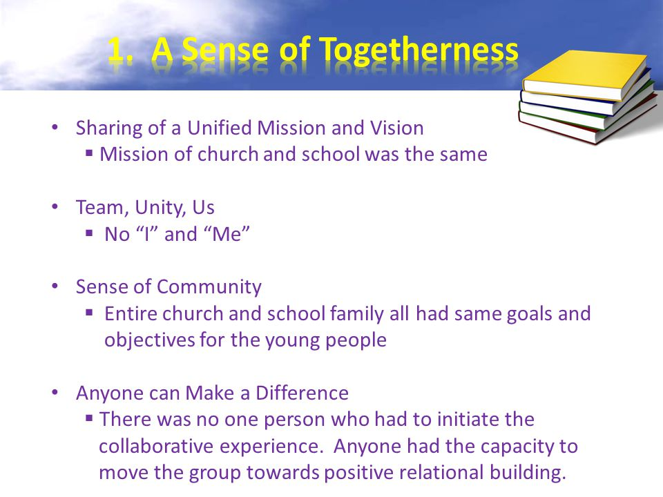 Sharing of a Unified Mission and Vision  Mission of church and school was the same Team, Unity, Us  No I and Me Sense of Community  Entire church and school family all had same goals and objectives for the young people Anyone can Make a Difference  There was no one person who had to initiate the collaborative experience.