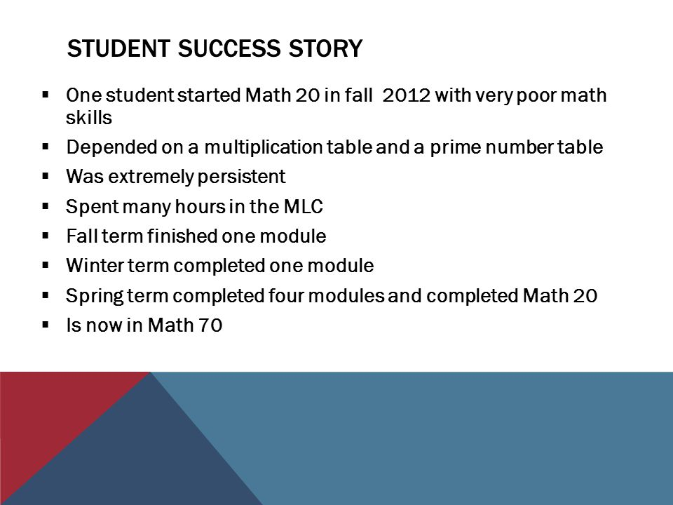 STUDENT SUCCESS STORY  One student started Math 20 in fall 2012 with very poor math skills  Depended on a multiplication table and a prime number table  Was extremely persistent  Spent many hours in the MLC  Fall term finished one module  Winter term completed one module  Spring term completed four modules and completed Math 20  Is now in Math 70
