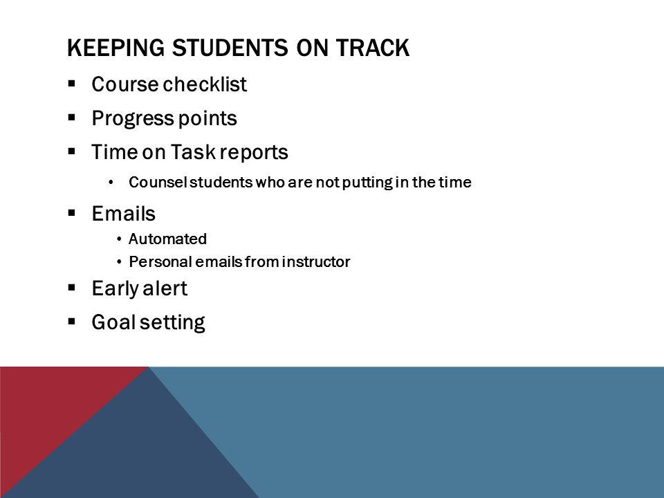 KEEPING STUDENTS ON TRACK  Course checklist  Progress points  Time on Task reports Counsel students who are not putting in the time  Emails Automa