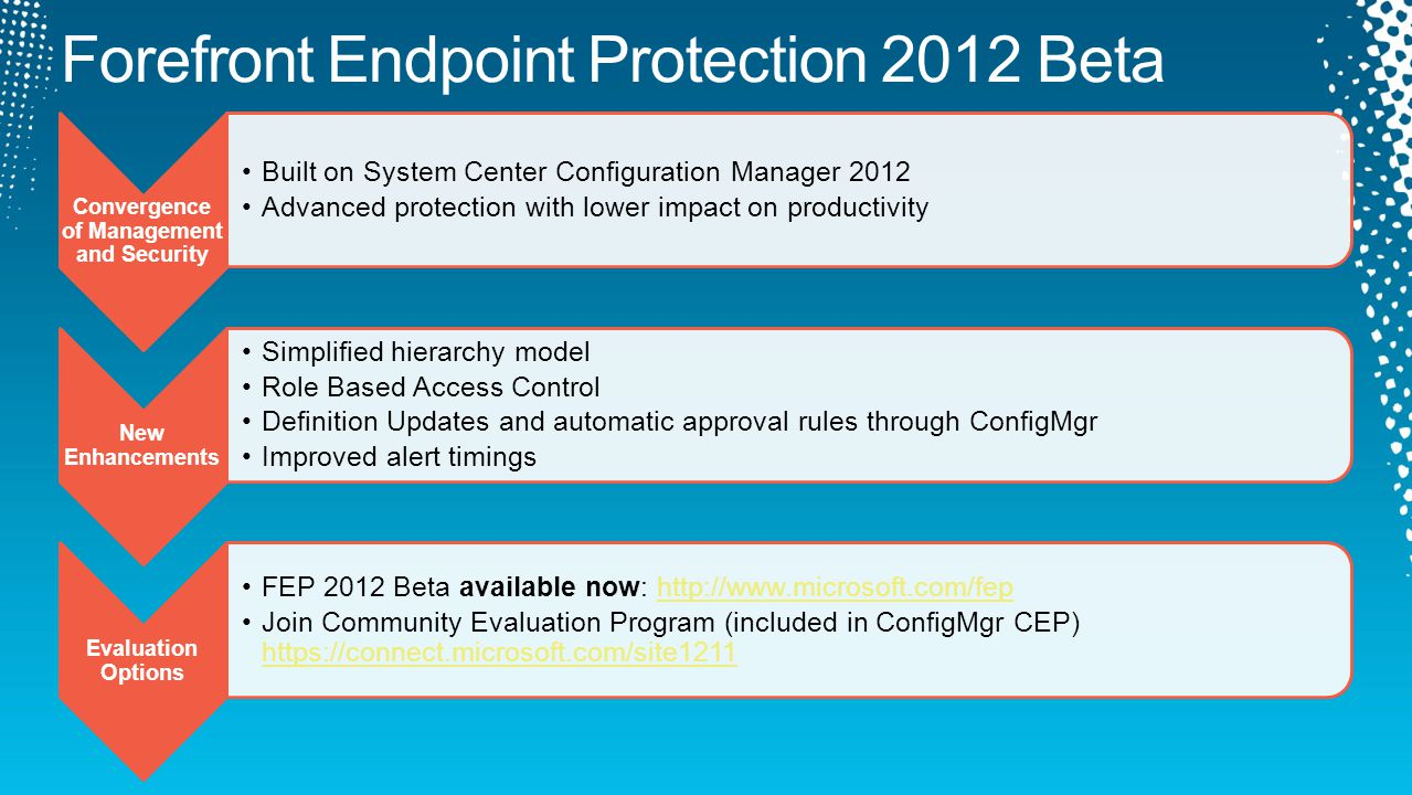 Convergence of Management and Security Built on System Center Configuration Manager 2012 Advanced protection with lower impact on productivity New Enhancements Simplified hierarchy model Role Based Access Control Definition Updates and automatic approval rules through ConfigMgr Improved alert timings Evaluation Options FEP 2012 Beta available now: http://www.microsoft.com/fephttp://www.microsoft.com/fep Join Community Evaluation Program (included in ConfigMgr CEP) https://connect.microsoft.com/site1211 https://connect.microsoft.com/site1211