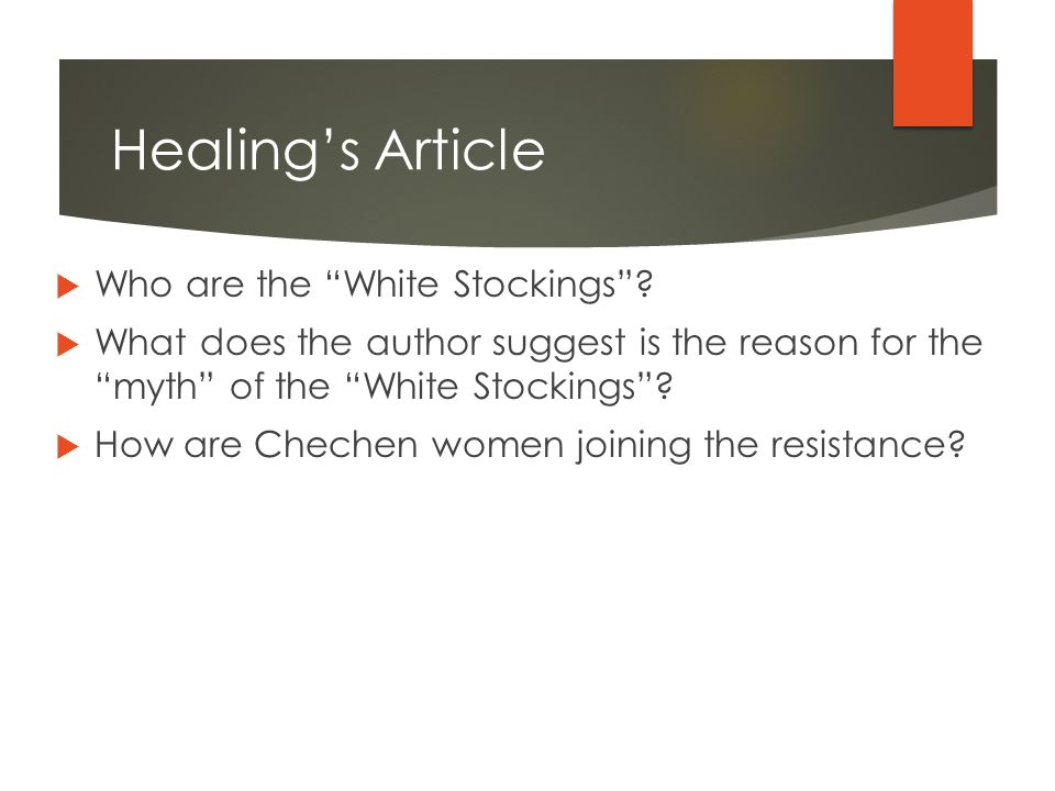 Healing's Article  Who are the White Stockings .
