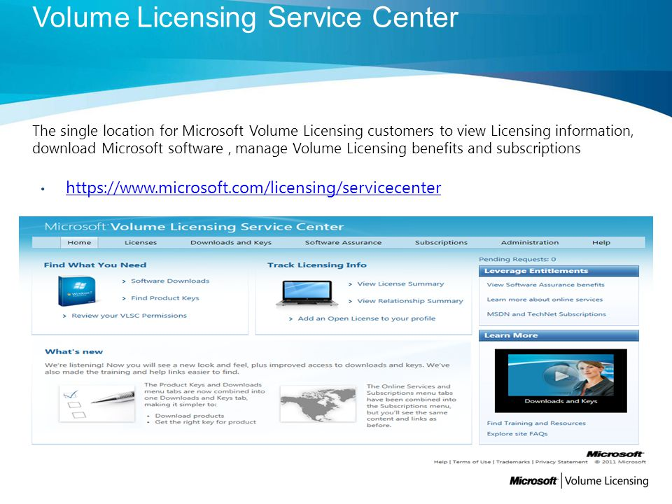 The single location for Microsoft Volume Licensing customers to view Licensing information, download Microsoft software, manage Volume Licensing benefits and subscriptions