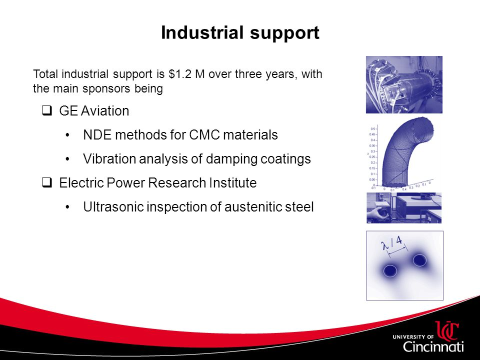 Conclusions The research scholar award has been instrumental to the creation of USIL USIL is helping local aerospace industries developing innovative materials for jet engines Cincinnati NDE, ltd.