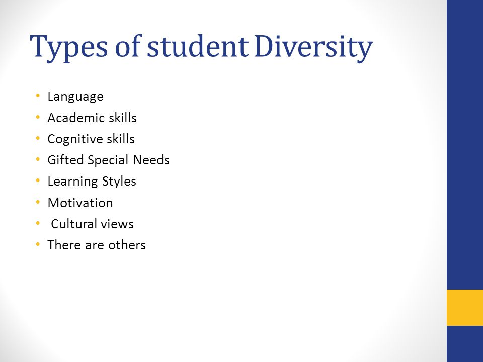 Types of student Diversity Language Academic skills Cognitive skills Gifted Special Needs Learning Styles Motivation Cultural views There are others