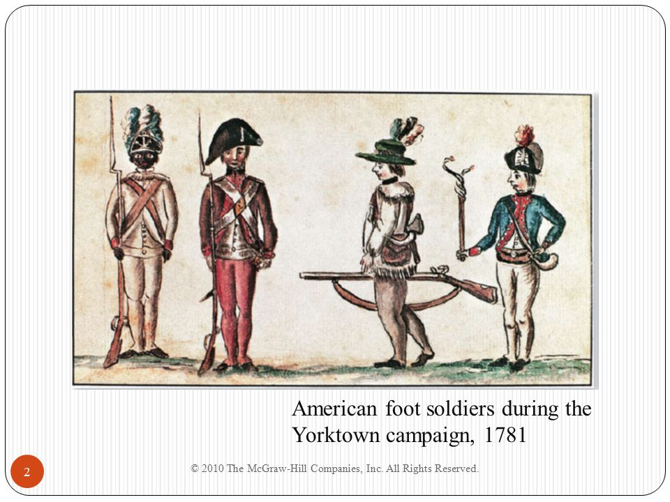 © 2010 The McGraw-Hill Companies, Inc. All Rights Reserved. 2 American foot soldiers during the Yorktown campaign, 1781