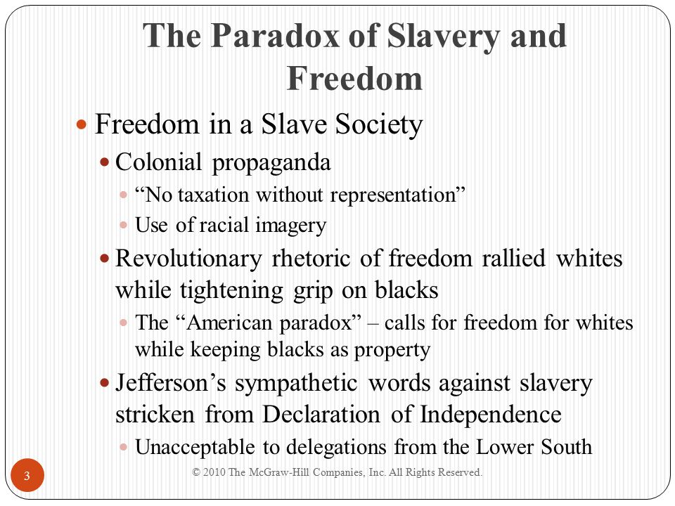 """The Paradox of Slavery and Freedom Freedom in a Slave Society Colonial propaganda """"No taxation without representation"""" Use of racial imagery Revolutio"""