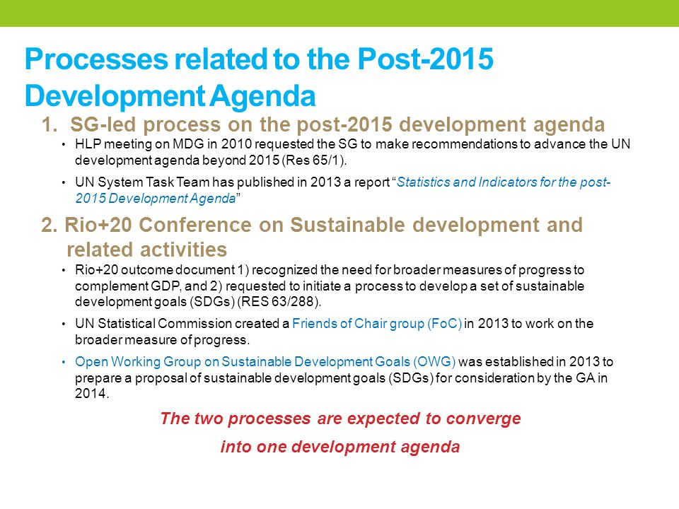 Processes related to the Post-2015 Development Agenda 1.