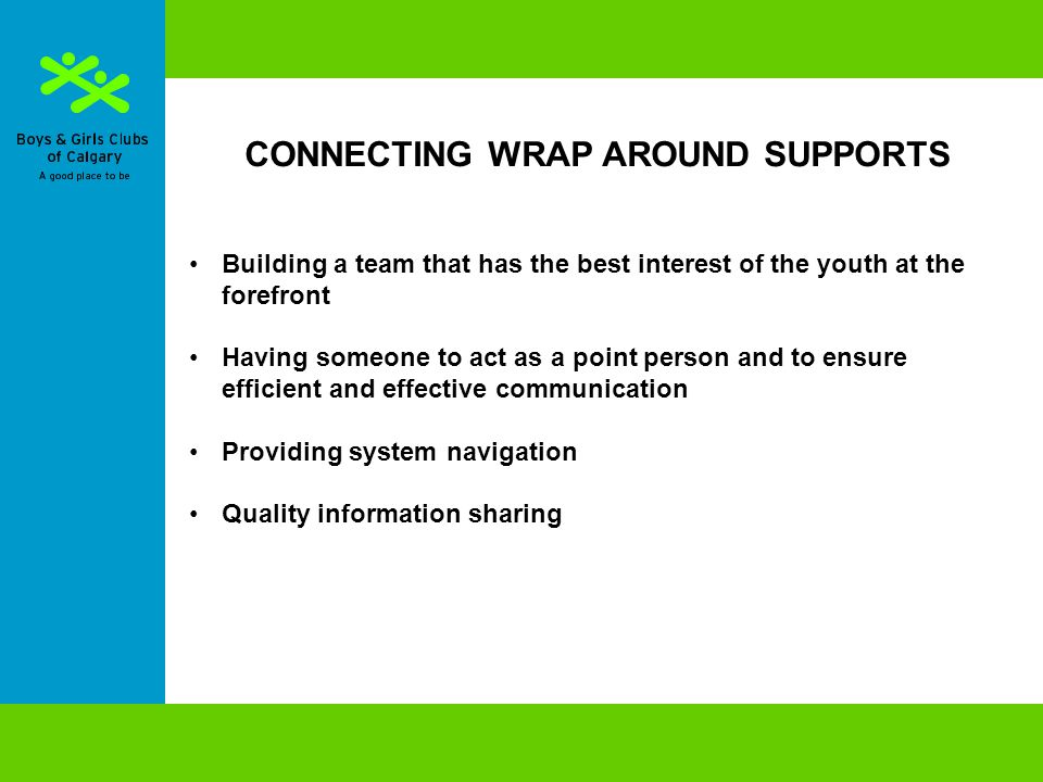 CONNECTING WRAP AROUND SUPPORTS Building a team that has the best interest of the youth at the forefront Having someone to act as a point person and to ensure efficient and effective communication Providing system navigation Quality information sharing