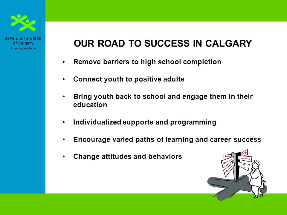 OUR ROAD TO SUCCESS IN CALGARY Remove barriers to high school completion Connect youth to positive adults Bring youth back to school and engage them in their education Individualized supports and programming Encourage varied paths of learning and career success Change attitudes and behaviors