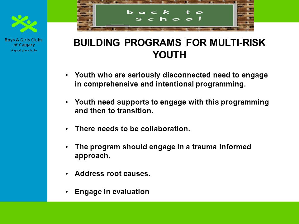BUILDING PROGRAMS FOR MULTI-RISK YOUTH Youth who are seriously disconnected need to engage in comprehensive and intentional programming.