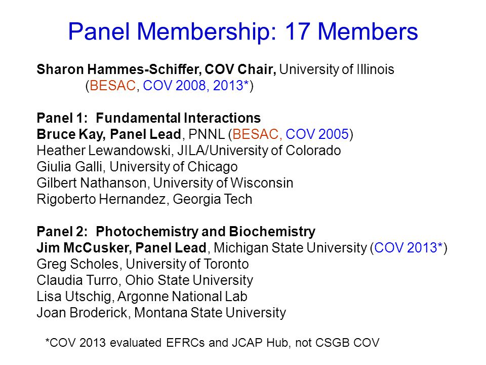 Panel Membership and Process Panel 3: Chemical Transformations Nick Winograd, Panel Lead, Penn State University (COV 2005) Jim Rustad, Corning Nicholas Delgass, Purdue University Emily Smith, Iowa State University James Boncella, LANL Anne Chaka, PNNL (COV 2005, 2011) Panel Balance: funded by BES / not funded by BES: 10 / 7 academic / national lab / industrial: 12 / 4 / 1 Process: -Information provided on CSGB COV website, initial conference call -COV began with overviews of charge, review procedures, and programs -First and second readings of folders, many discussions -Reconvened and finalized findings and recommendations