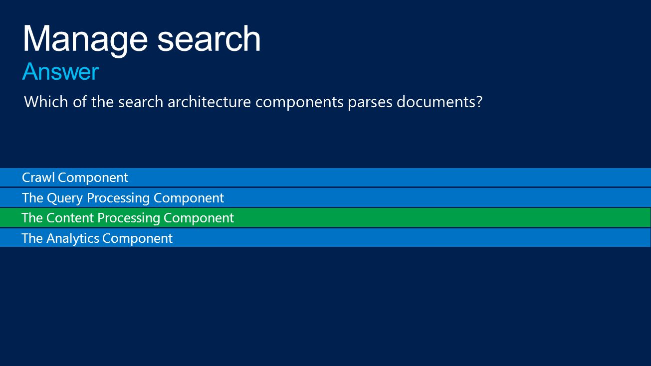 Crawl Component The Query Processing Component The Content Processing Component The Analytics Component