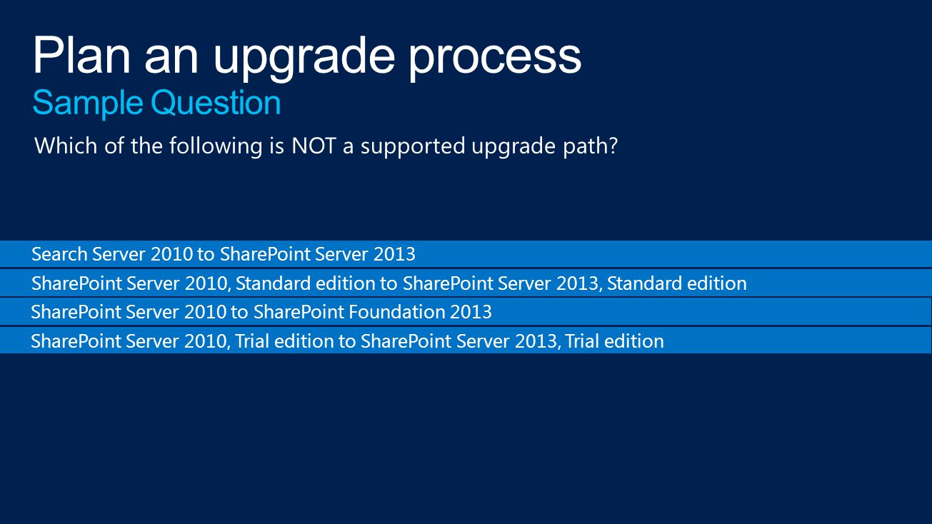 Search Server 2010 to SharePoint Server 2013 SharePoint Server 2010, Standard edition to SharePoint Server 2013, Standard edition SharePoint Server 2010 to SharePoint Foundation 2013 SharePoint Server 2010, Trial edition to SharePoint Server 2013, Trial edition