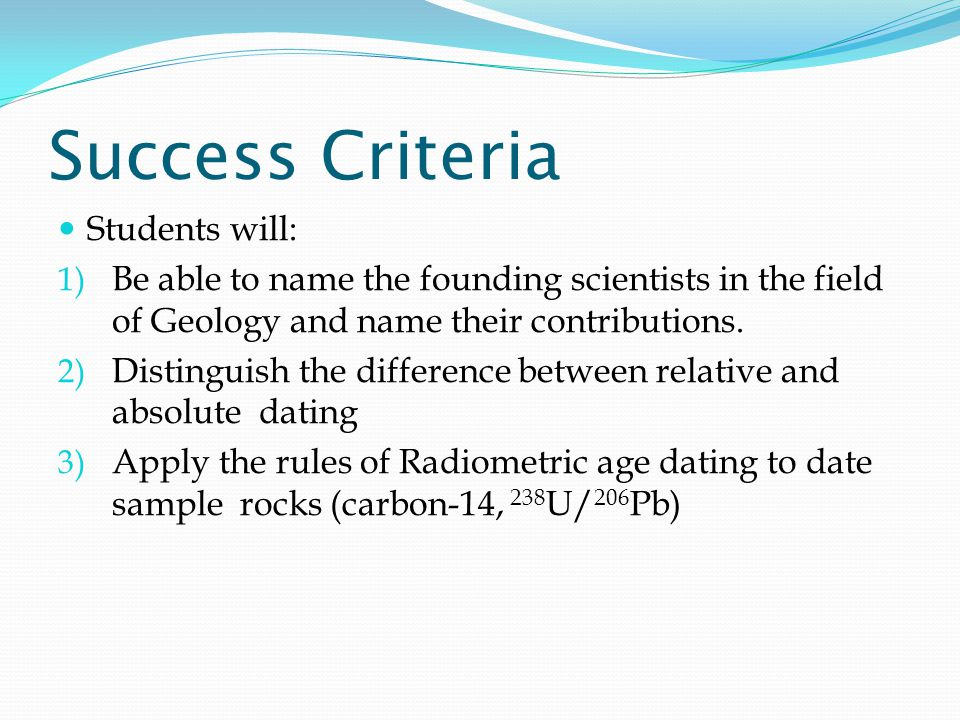 Success Criteria Students will: 1) Be able to name the founding scientists in the field of Geology and name their contributions.