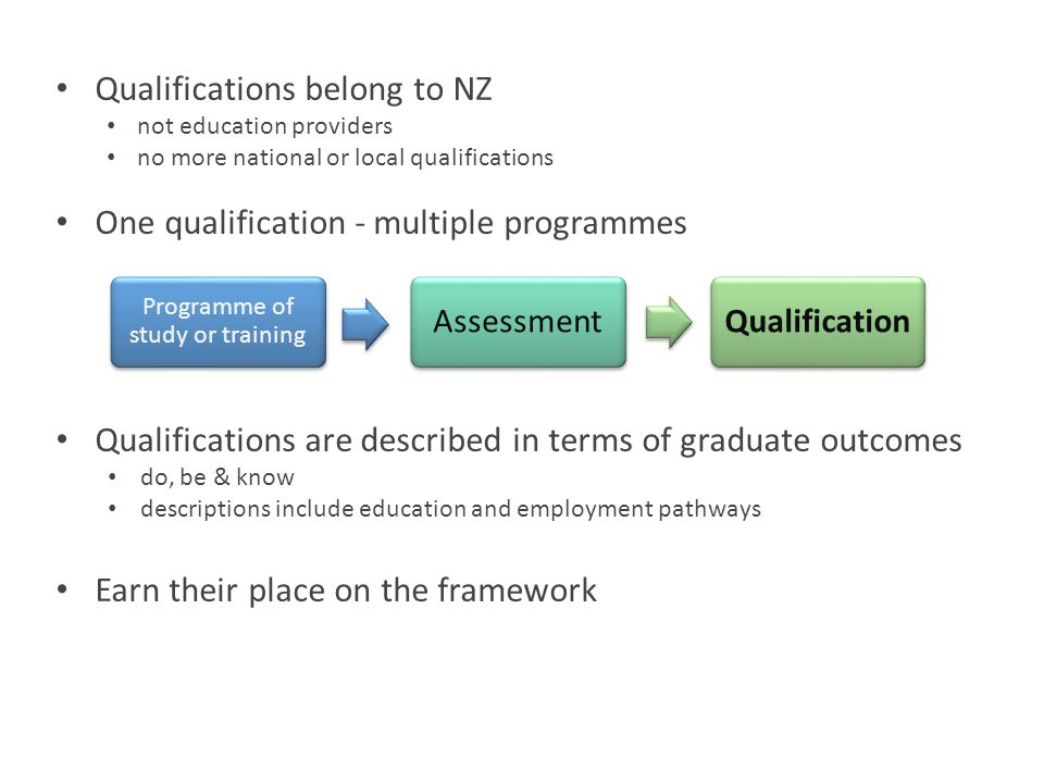 Qualifications belong to NZ not education providers no more national or local qualifications One qualification - multiple programmes Qualifications ar
