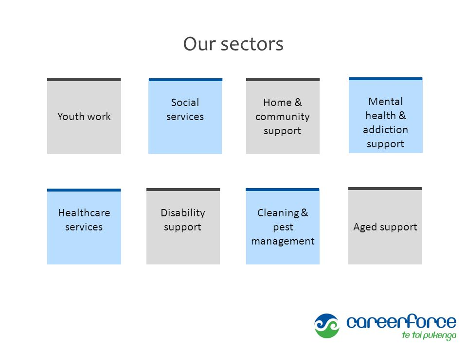 Our sectors Youth work Social services Home & community support Mental health & addiction support Healthcare services Disability support Cleaning & pe