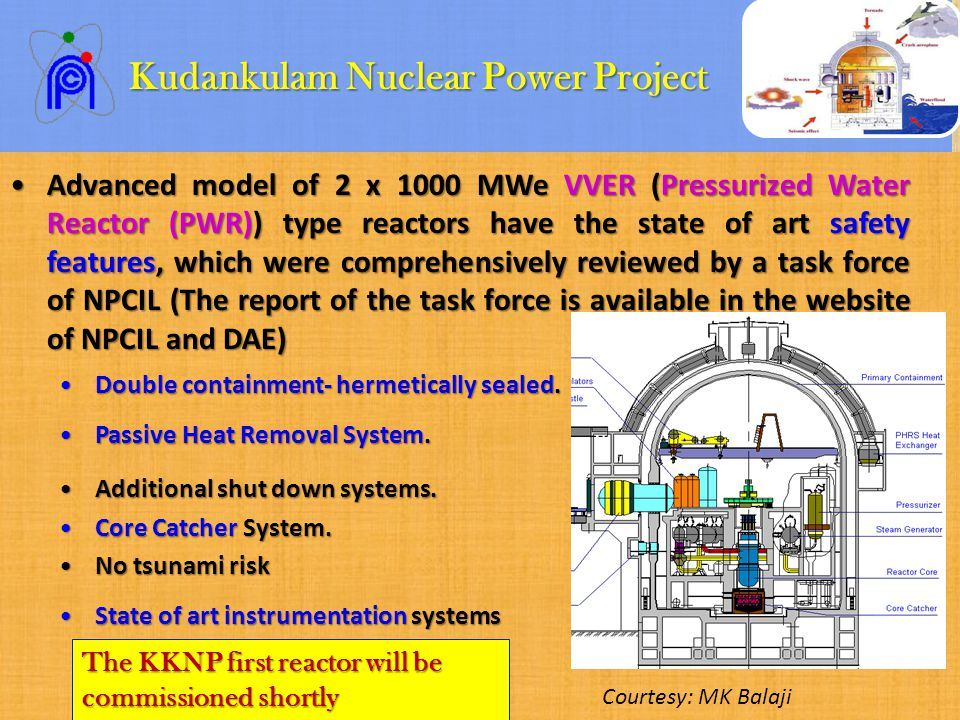 Kudankulam Nuclear Power Project Kudankulam Nuclear Power Project Advanced model of 2 x 1000 MWe VVER (Pressurized Water Reactor (PWR)) type reactors have the state of art safety features, which were comprehensively reviewed by a task force of NPCIL (The report of the task force is available in the website of NPCIL and DAE)Advanced model of 2 x 1000 MWe VVER (Pressurized Water Reactor (PWR)) type reactors have the state of art safety features, which were comprehensively reviewed by a task force of NPCIL (The report of the task force is available in the website of NPCIL and DAE) Double containment- hermetically sealed.Double containment- hermetically sealed.