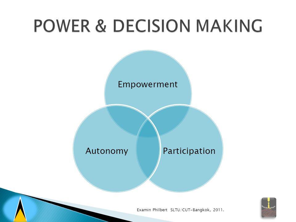 Empowerment ParticipationAutonomy Examin Philbert SLTU/CUT-Bangkok, 2011.