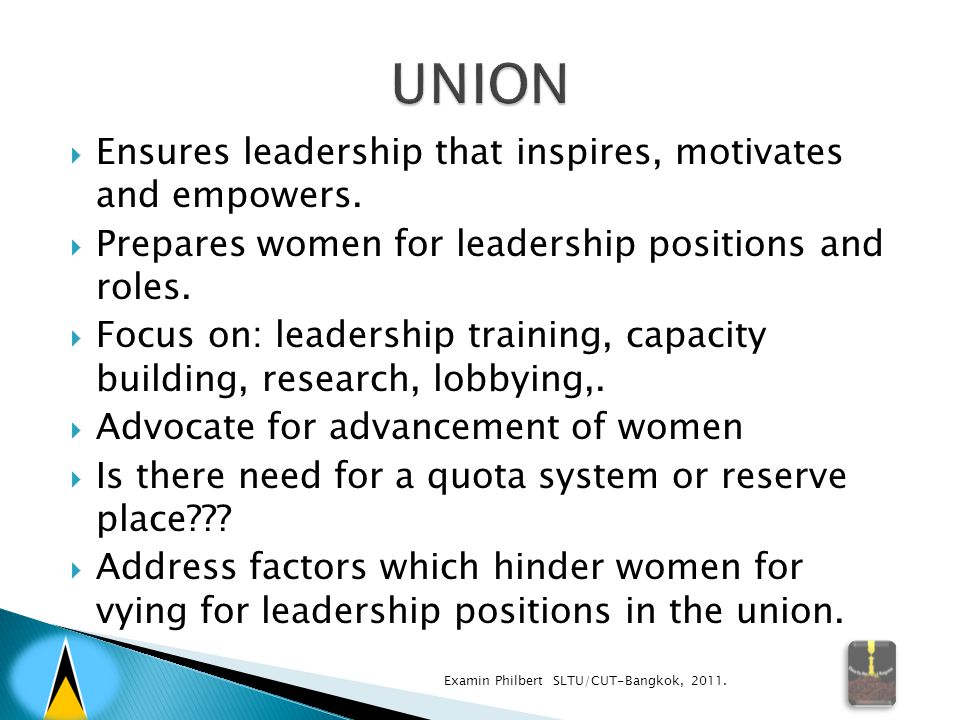  Ensures leadership that inspires, motivates and empowers.  Prepares women for leadership positions and roles.  Focus on: leadership training, capa