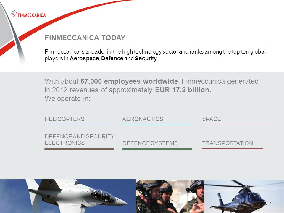 33 FINMECCANICA TODAY Finmeccanica is a leader in the high technology sector and ranks among the top ten global players in Aerospace, Defence and Security.