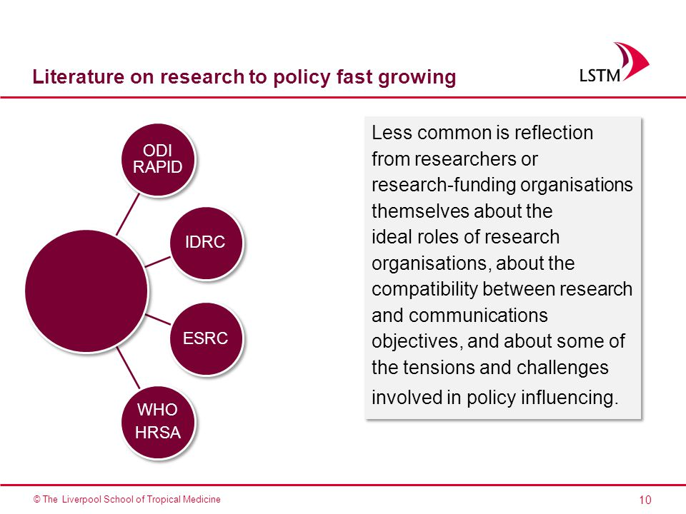 10 © The Liverpool School of Tropical Medicine Literature on research to policy fast growing ODI RAPID IDRC ESRC WHO HRSA Less common is reflection from researchers or research-funding organisations themselves about the ideal roles of research organisations, about the compatibility between research and communications objectives, and about some of the tensions and challenges involved in policy influencing.