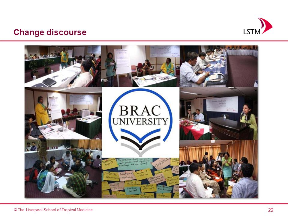 22 © The Liverpool School of Tropical Medicine Change discourse