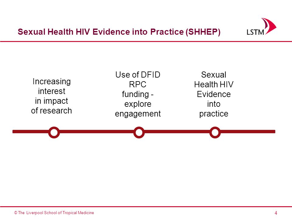 4 © The Liverpool School of Tropical Medicine Sexual Health HIV Evidence into Practice (SHHEP) Increasing interest in impact of research Use of DFID RPC funding - explore engagement Sexual Health HIV Evidence into practice