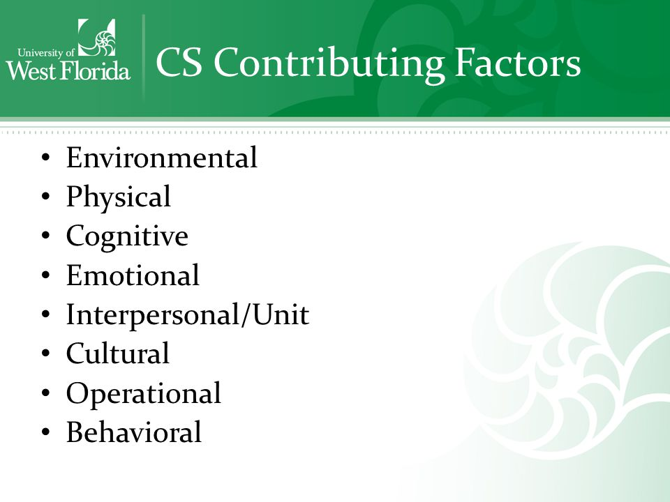 CS Contributing Factors Environmental Physical Cognitive Emotional Interpersonal/Unit Cultural Operational Behavioral