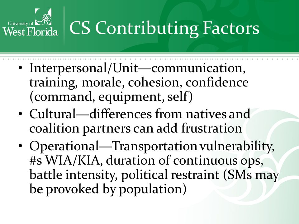 CS Contributing Factors Interpersonal/Unit—communication, training, morale, cohesion, confidence (command, equipment, self) Cultural—differences from natives and coalition partners can add frustration Operational—Transportation vulnerability, #s WIA/KIA, duration of continuous ops, battle intensity, political restraint (SMs may be provoked by population)