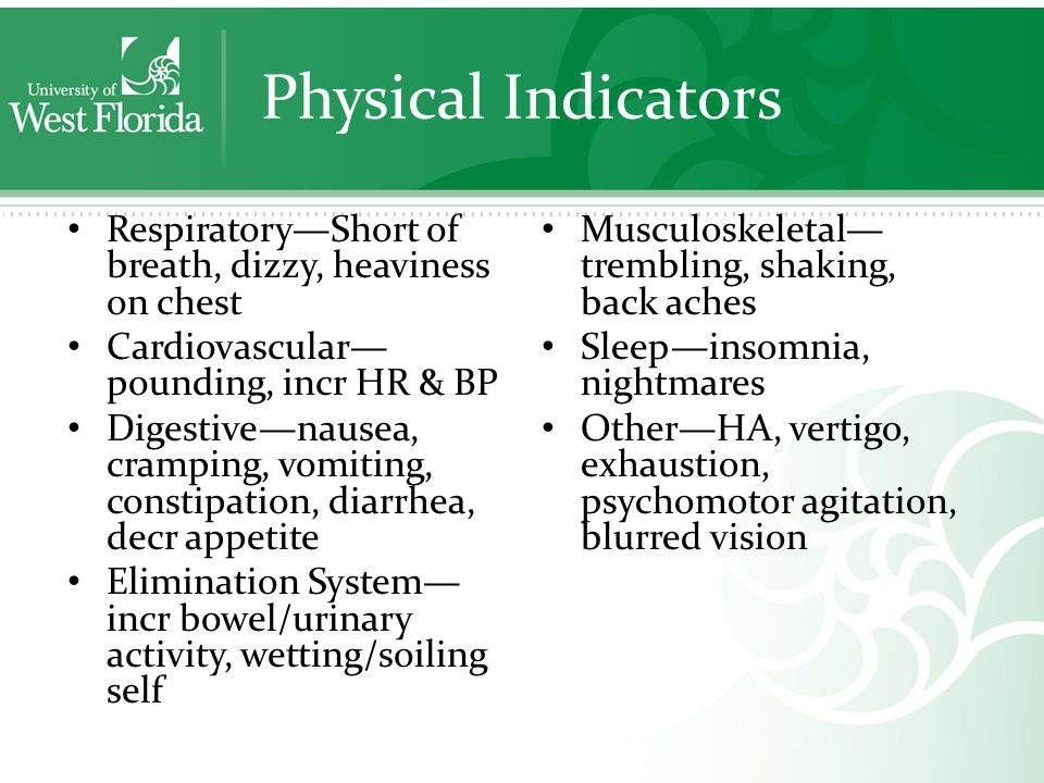 Physical Indicators Respiratory—Short of breath, dizzy, heaviness on chest Cardiovascular— pounding, incr HR & BP Digestive—nausea, cramping, vomiting, constipation, diarrhea, decr appetite Elimination System— incr bowel/urinary activity, wetting/soiling self Musculoskeletal— trembling, shaking, back aches Sleep—insomnia, nightmares Other—HA, vertigo, exhaustion, psychomotor agitation, blurred vision