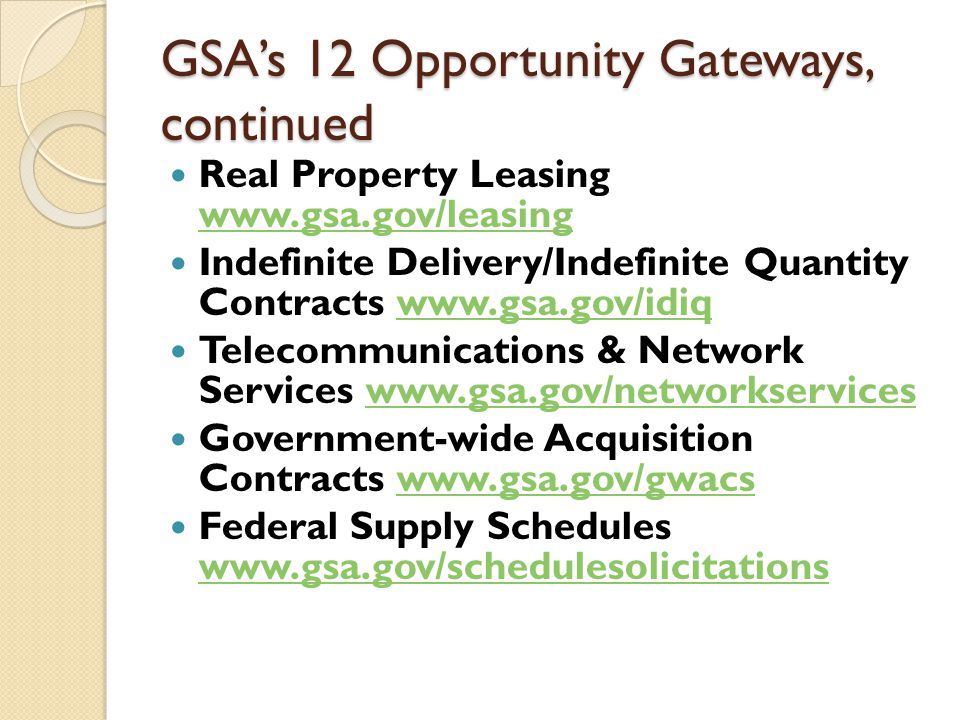 Real Property Leasing www.gsa.gov/leasing GSA, the nation's largest public real estate organization, provides workspace for more than 1.2 million federal workers through its Public Building Service.