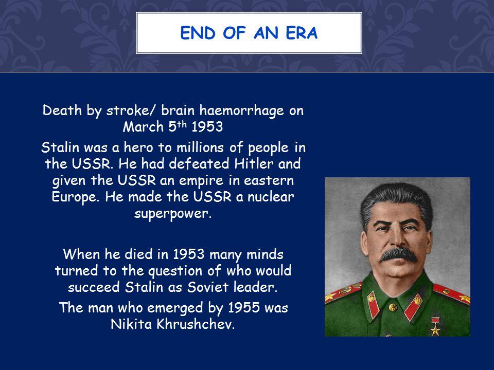 After 2 years of internal dispute, Nikita Khrushchev emerged as leader in 1955.