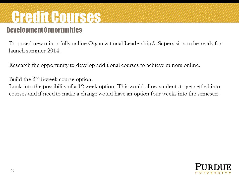 Credit Courses Development Opportunities 10 Proposed new minor fully online Organizational Leadership & Supervision to be ready for launch summer 2014.